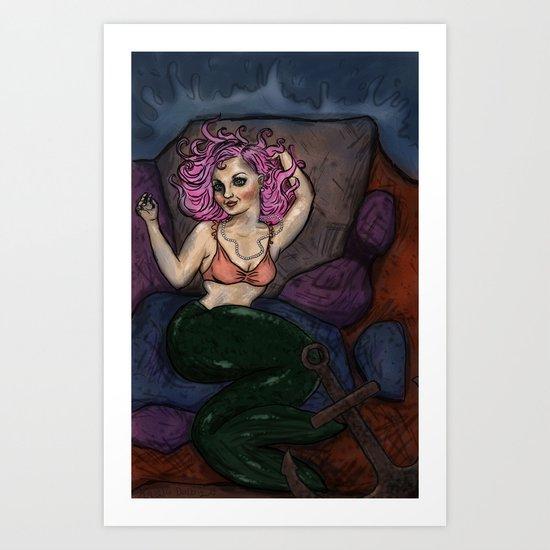 Pin Up Mermaid Art Print