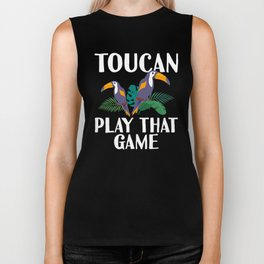 Toucan Play That Game Funny Toucan Pun With Tropical Flowers Biker Tank