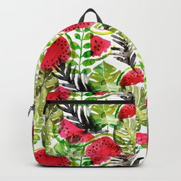 Summer watermelon and palm leaves watercolor pattern Backpack