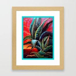 Southwest-western Style Desert Agave in Sunrise Framed Art Print