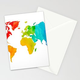 Original Watercolor - Map of The World - Travel Art - Chakra Rainbow Colors Stationery Cards