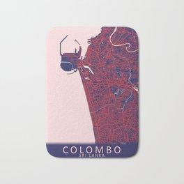 Colombo, Sri Lanka, Blue, White, City, Map Bath Mat