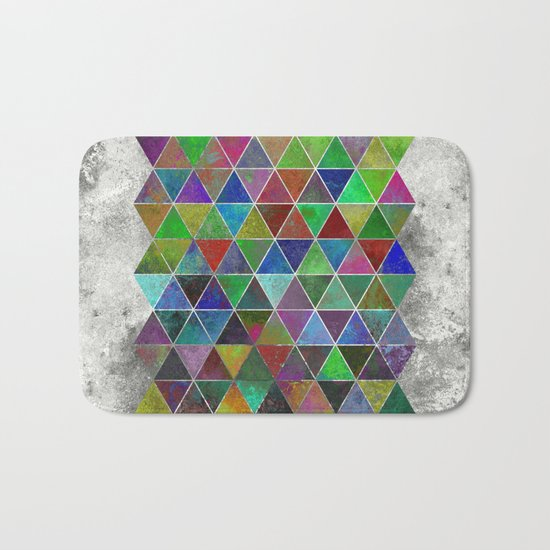 Textured Triangles - Abstract, textured, geometric, painting Bath Mat