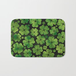 Lucky Shamrock Four-leaf Clover Pattern Watercolor Bath Mat