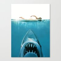 shark Canvas Prints featuring Shark by Maioriz Home
