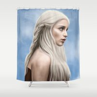 daenerys Shower Curtains featuring Khaleesi (Blue Sky) by Jason Cumbers