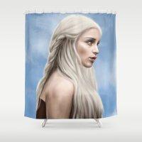 daenerys targaryen Shower Curtains featuring Khaleesi (Blue Sky) by Jason Cumbers