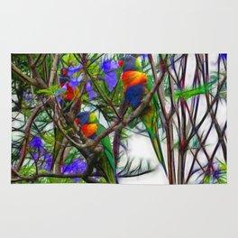 Abstract Beautiful Rainbow Lorikeets in a tree Rug