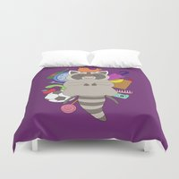 racoon Duvet Covers featuring Happy Racoon by Noelia Muñoz