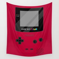 gameboy Wall Tapestries featuring Gameboy Color - Red by katy-makes-things