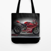 ducati Tote Bags featuring Ducati 1199 Panigale R by Elias Silva Photography