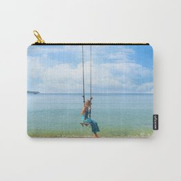 Woman relaxing on a swing on the beach , koh Samui, Suratthani, Thailand Carry-All Pouch