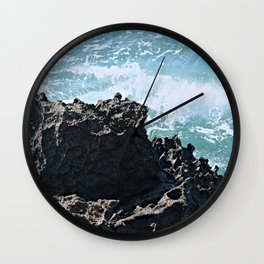 Coastal Castle Shaped Cliff Sea Waves Wall Clock