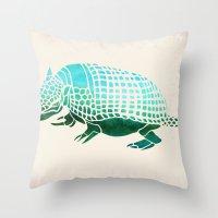reassurance Throw Pillows featuring Watercolor Armadillo by Jacqueline Maldonado