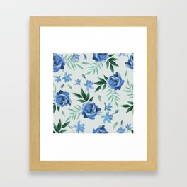 Paper-cut floral denim Framed Art Print