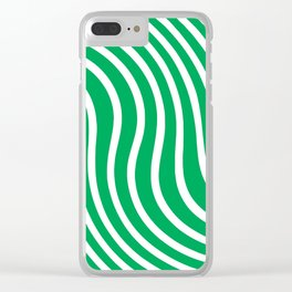 Green and white waved pattern Clear iPhone Case