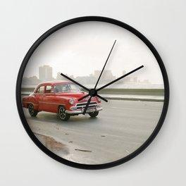 Classic Red Car in Havana Cuba Wall Clock