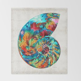 Colorful Nautilus Shell by Sharon Cummings Throw Blanket