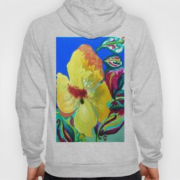 Birthday Acrylic Yellow Orange Hibiscus Flower Painting with Red and Green Leaves Hoody