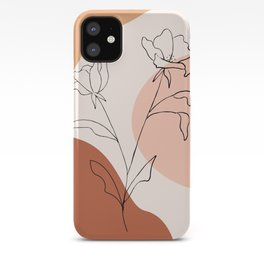 Poppies line drawing iPhone Case