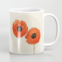 poppies Mugs featuring Poppies by Field & Sky