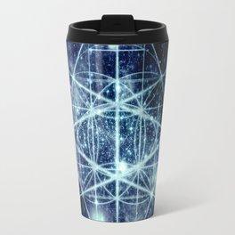 Galaxy Sacred Geometry Flower of Life Ocean Blue Travel Mug