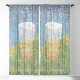 Pint's Half Full Sheer Curtain