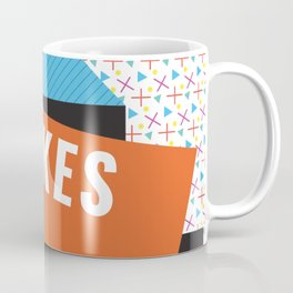 Bright Memphis Throwback Retro 1990s 80s Trendy Hipster Pattern Coral Coffee Mug