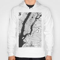 new york map Hoodies featuring New York Map Gray by City Art Posters