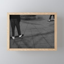 Two People Riding Skateboard on the Street Framed Mini Art Print