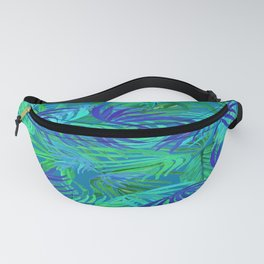 palm tree tropical blue and green Fanny Pack