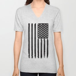 Grey American flag Unisex V-Neck