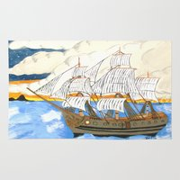 pirate ship Area & Throw Rugs featuring Pirate Ship At Sea by J&C Creations