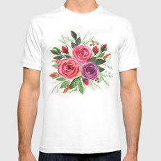 Watercolor floral pattern . Roses. White Mens Fitted Tee MEDIUM