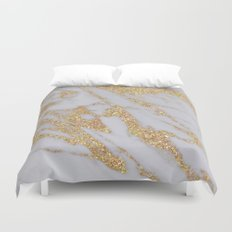 Marble - Rose Gold Marble with Yellow Gold Glitter Duvet Cover