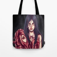 in the flesh Tote Bags featuring Flesh Maiden by pandatails