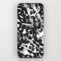 music notes iPhone & iPod Skins featuring MUSIC NOTES  by raspaintings