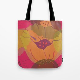 Colourful pink, yellow, orange poppies in transparent layers. Tote Bag