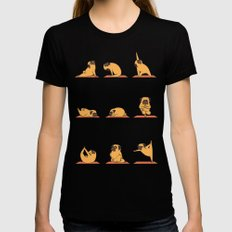 Pug Yoga SMALL Womens Fitted Tee Black