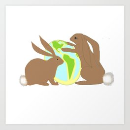 Bunnies World Art Print