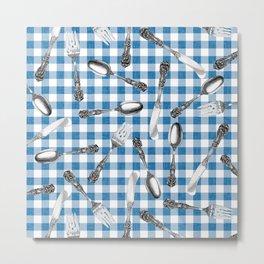 Utensils on Blue Picnic Blanket Metal Print