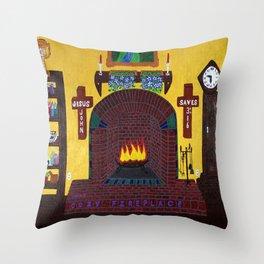 Cozy Fireplace Throw Pillow