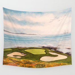 Pebble Beach Golf Course Signature Hole 7 Wall Tapestry