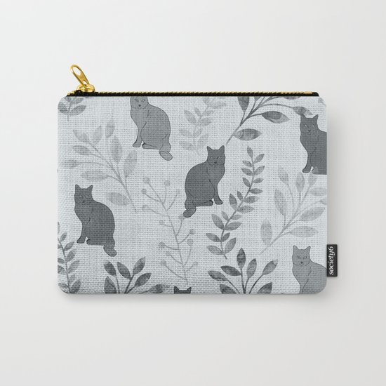 Watercolor Floral and Cat VI Carry-All Pouch