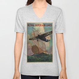 Vintage poster - Royal Dutch Airlines Unisex V-Neck