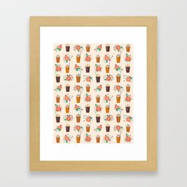 Coffee floral bouquet coffee lovers java bean cute pattern print for kitchen Framed Art Print