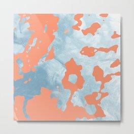 Coral Splatter Ocean Metal Print