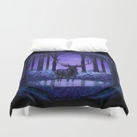 elf Duvet Covers featuring Elf Forest by Sachpica