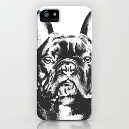 Black And White French Bulldog Sketch iPhone Case