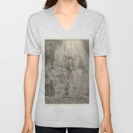 "Rembrandt - Christ Crucified Between the Two Thieves (""The Three Crosses"") (1653) Unisex V-Neck"